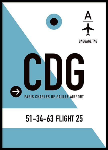 CDG Paris Poster in the group Prints / Maps & cities at Desenio AB (10003)