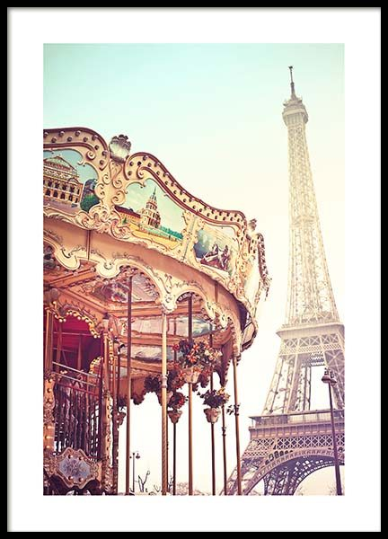 Eiffel Tower Carousel Poster in the group Prints / Sizes / 50x70cm | 20x28 at Desenio AB (10098)