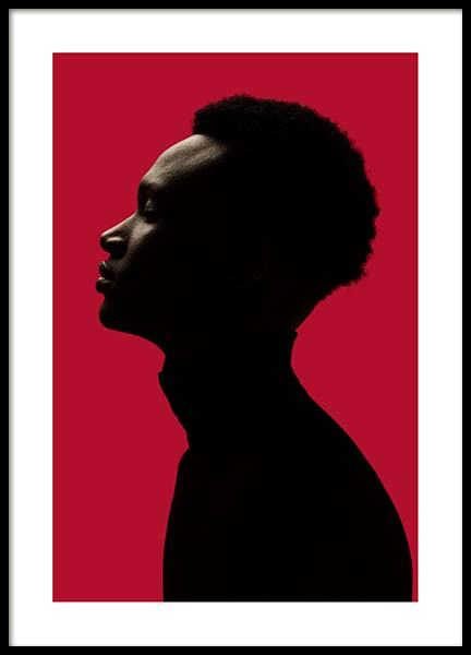 Man Silhouette On Red No1 Poster in the group Prints / Photographs / Portraits at Desenio AB (10111)