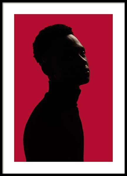 Man Silhouette On Red No2 Poster in the group Prints / Photographs at Desenio AB (10112)