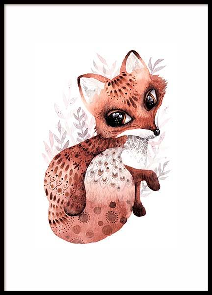 Little Fox Poster in the group Prints / Kids at Desenio AB (10116)