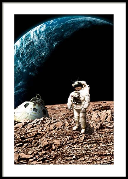 Astronaut On Moon Poster in the group Prints / Kids posters at Desenio AB (10117)