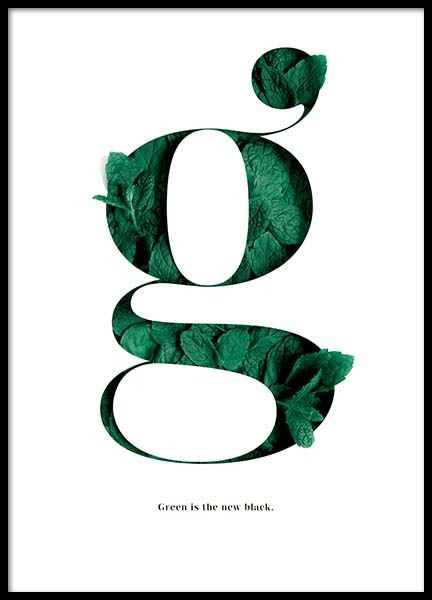 Green Is The New Black Poster in the group Prints / Text posters at Desenio AB (10137)