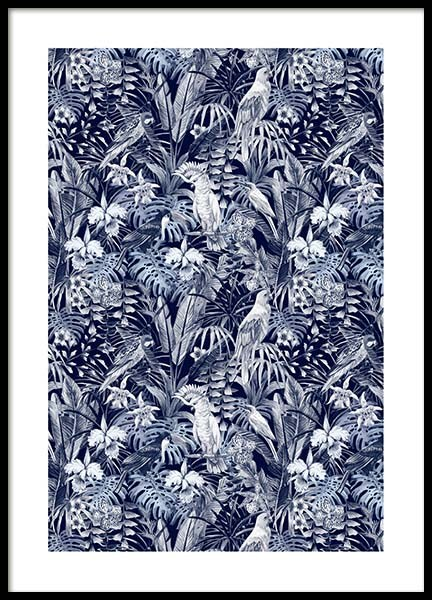 Tropic Blue Pattern Poster in the group Prints / Floral at Desenio AB (10148)