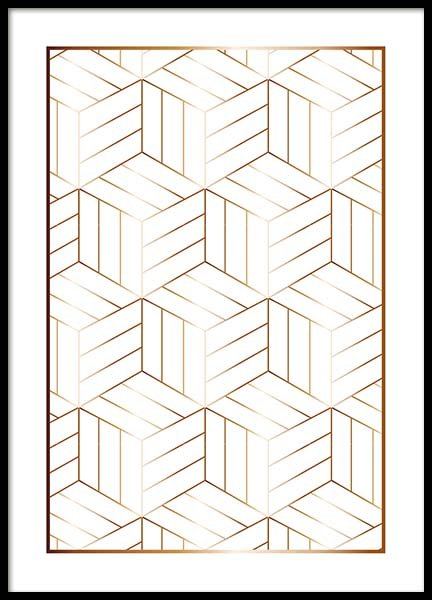 Cubes Pattern Poster in the group Prints / Gold & silver at Desenio AB (10150)