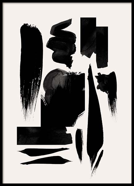 Strokes In Black Poster in the group Prints / Art prints at Desenio AB (10152)