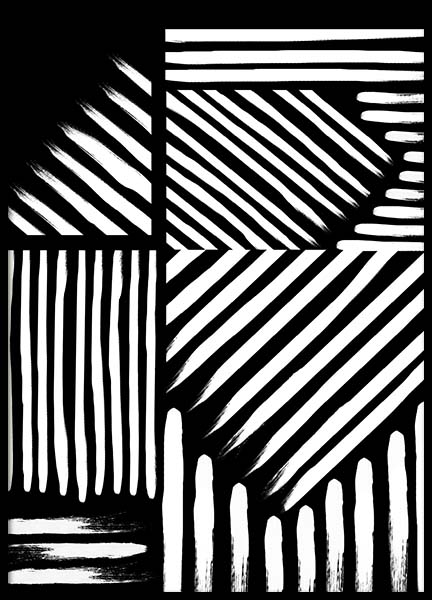 Black & White Strokes Poster in the group Prints / Art prints at Desenio AB (10153)