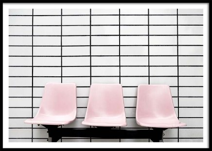 Three Pink Chairs Poster in the group Prints / Photographs at Desenio AB (10191)