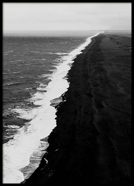 Black Beach Aerial Poster in the group Prints / Black & white at Desenio AB (10237)