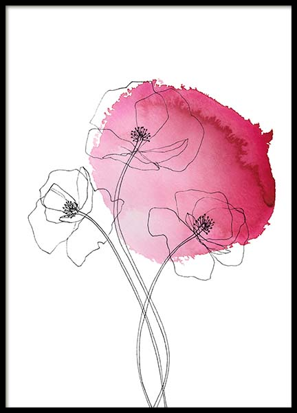 Pink Poppy Flower No1 Poster in the group Prints / Illustrations at Desenio AB (10253)