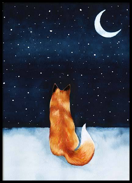 Night Fox Poster in the group Prints / Sizes / 50x70cm | 20x28 at Desenio AB (10274)
