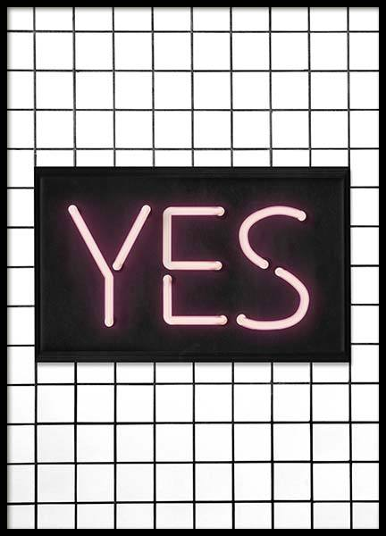 Yes Neon Poster in the group Prints / Typography & quotes at Desenio AB (10302)