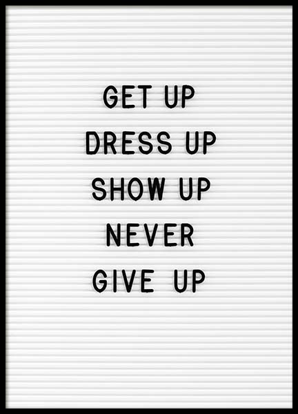 Never Give Up Poster in the group Prints / Typography & quotes at Desenio AB (10358)