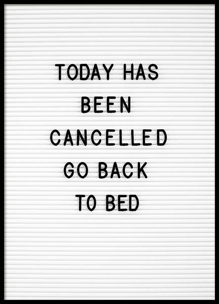 Go Back To Bed Poster in the group Prints / Typography & quotes at Desenio AB (10359)