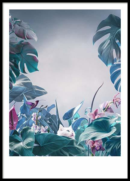 Cat in Jungle Poster in the group Prints / Sizes / 50x70cm | 20x28 at Desenio AB (10454)