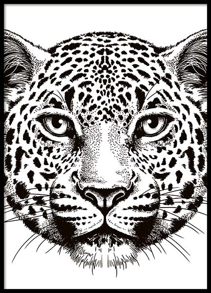 Leopard Face Poster in the group Prints / Animals at Desenio AB (10497)