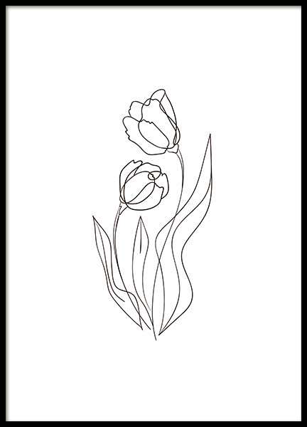 Flower Lines No2 Poster in the group Prints / Illustrations at Desenio AB (10541)