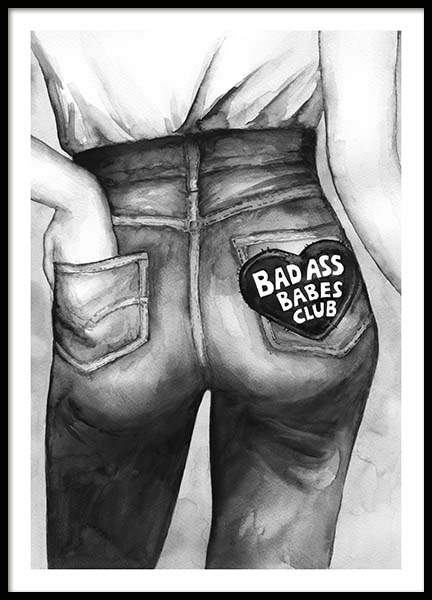 Bad Ass Babes Club Poster in the group Prints / Illustrations at Desenio AB (10545)