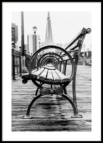 B&W Bench Poster in the group Prints / Black & white at Desenio AB (10548)