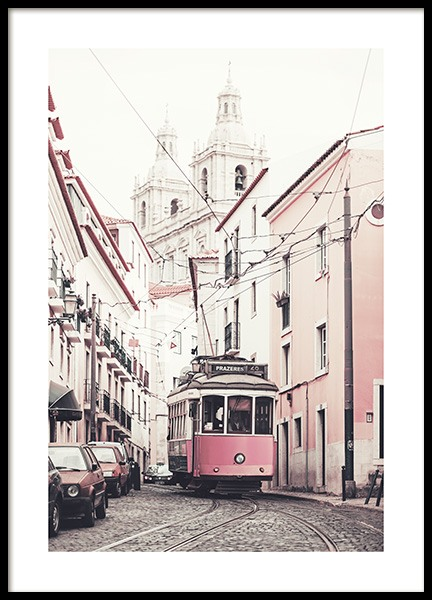 Pink Tram Poster in the group Prints / Photographs at Desenio AB (10642)