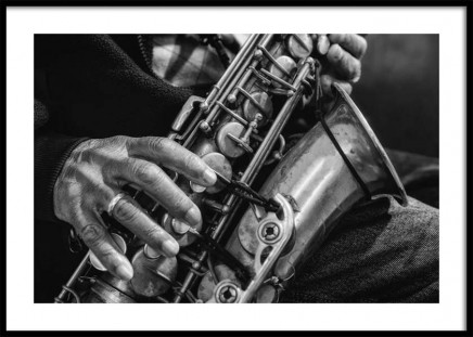 Saxophone Poster in the group Prints / Black & white at Desenio AB (10718)