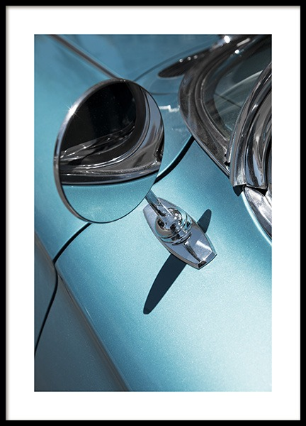 Blue Chevrolet Mirror Poster in the group Prints / Photographs at Desenio AB (10805)