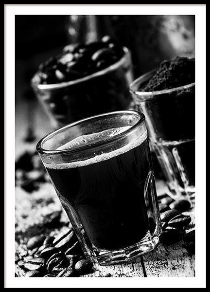Glass of Coffee Poster in the group Prints / Black & white at Desenio AB (10825)