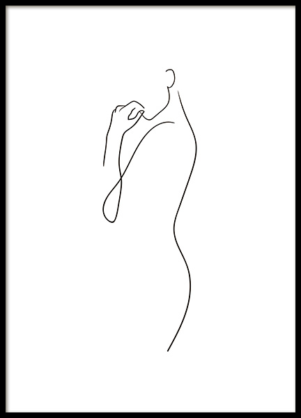 Curve Line Art Poster in the group Prints / Black & white at Desenio AB (10837)