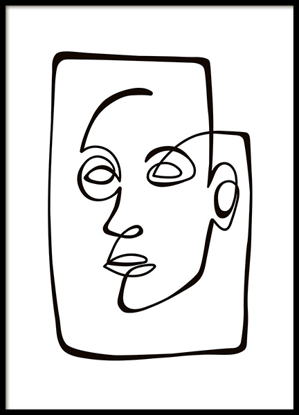 Abstract Line Portrait Poster in the group Prints / Black & white at Desenio AB (10838)