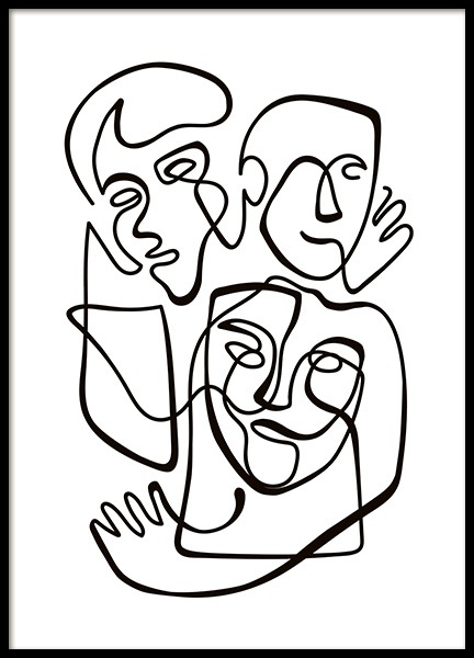 Abstract Line People No1 Poster in the group Prints / Black & white at Desenio AB (10840)