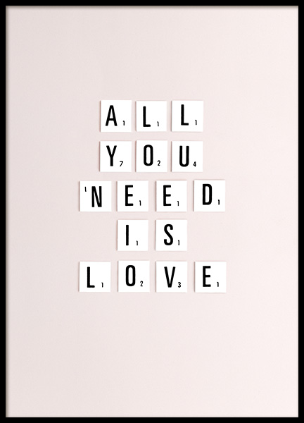 All You Need Is Love Poster in the group Prints / Text posters at Desenio AB (10862)
