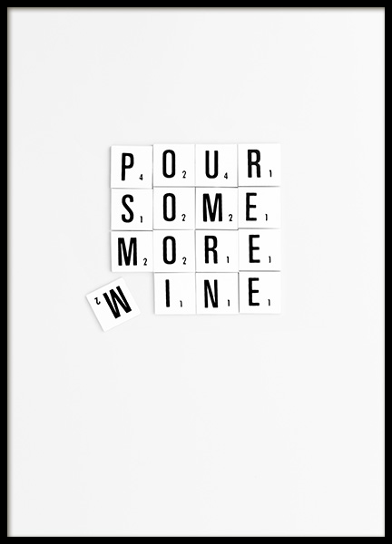 Pour Some More Wine Poster in the group Prints / Typography & quotes at Desenio AB (10864)