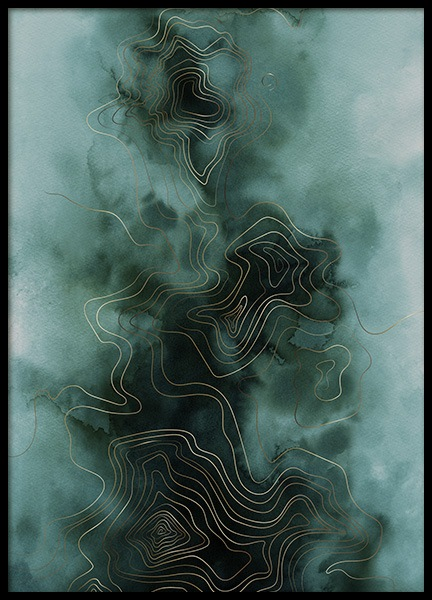 Abstract Map Green Poster in the group Prints / Art prints at Desenio AB (11017)