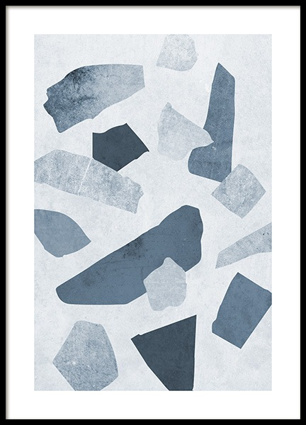 Terrazzo Blue Poster in the group Prints / Graphical at Desenio AB (11060)