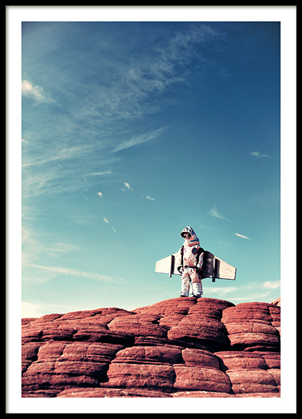 Little Astronaut Poster in the group Prints / Kids wall art at Desenio AB (11160)