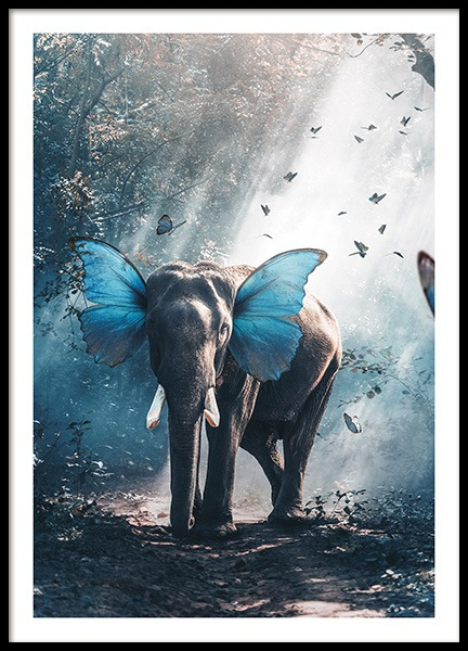 Butterphant Poster in the group Prints / Kids posters at Desenio AB (11204)