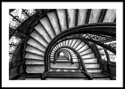Circular Staircase Poster in the group Prints / Black & white at Desenio AB (11270)