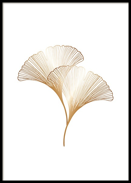 Ginkgo Leaves Gold Poster in the group Prints / Floral at Desenio AB (11280)