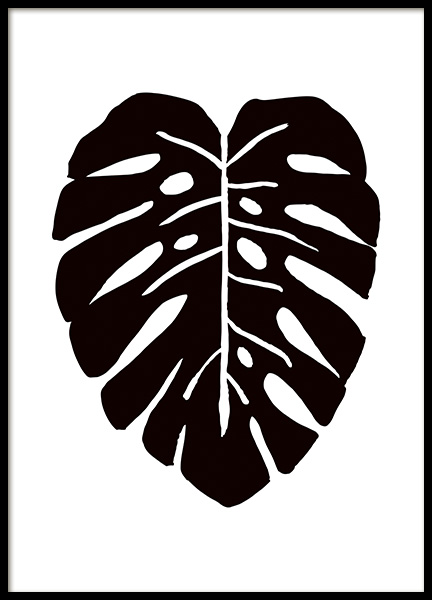 Monstera Ink Drawing Black Poster in the group Prints / Art prints at Desenio AB (11305)