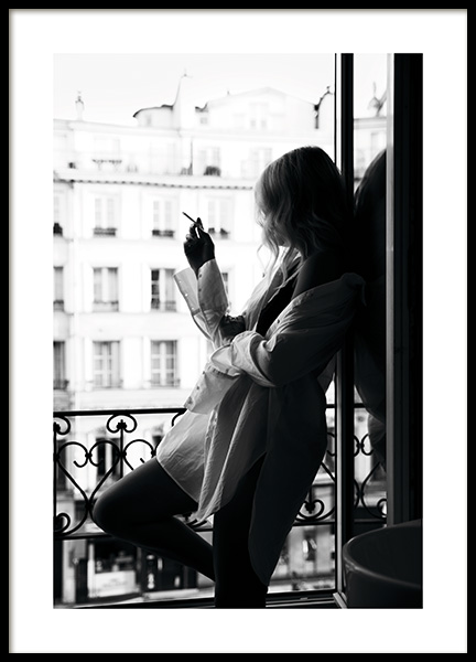Smoking in Paris Poster in the group Prints / Black & white at Desenio AB (11339)