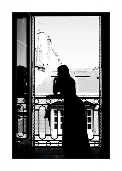 Woman in window Poster in the group Prints / Black & white at Desenio AB (11343)