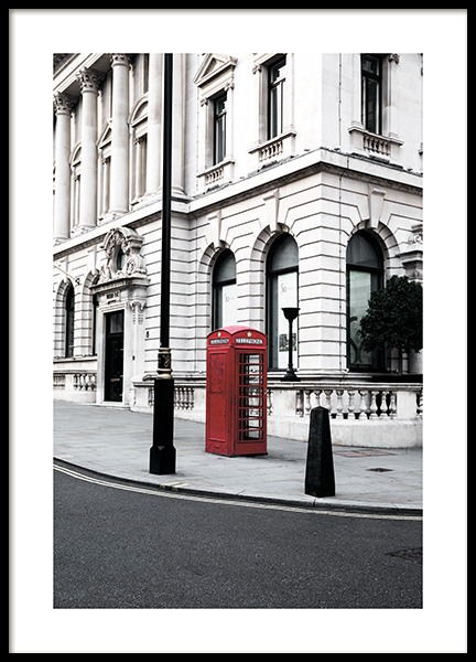 Red Telephone Box Poster in the group Prints / Photographs at Desenio AB (11362)
