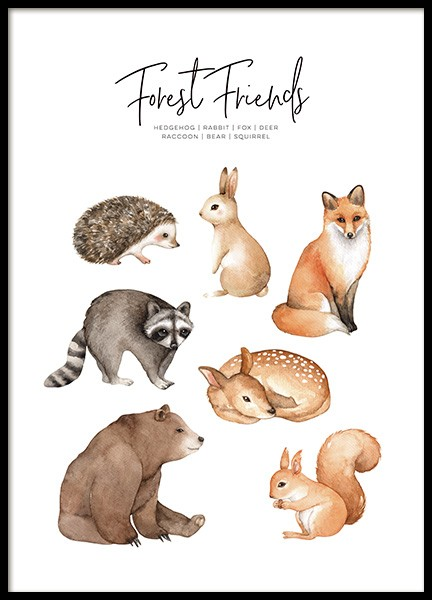 Forest Animals Poster in the group Prints / Kids posters at Desenio AB (11378)