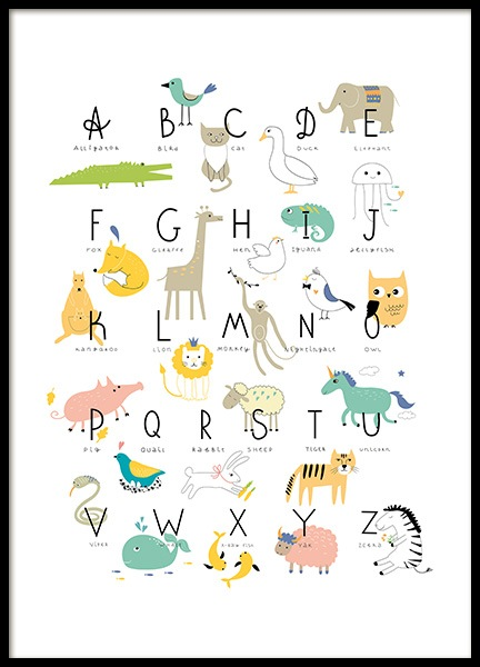Animal Alphabet Poster in the group Prints / Kids posters at Desenio AB (11381)