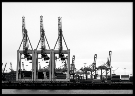 Port of Hamburg Poster in the group Prints / Photographs / Black & white photography at Desenio AB (11394)