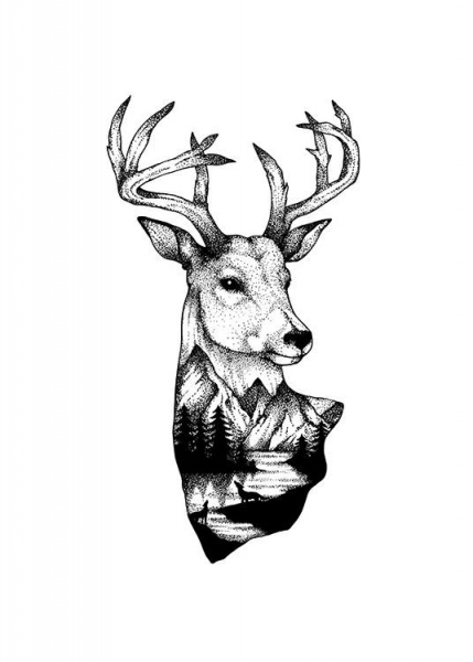 Ink Dot Deer Poster in the group Prints / Illustrations at Desenio AB (11417)