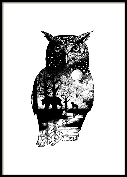 Ink Dot Owl Poster in the group Prints / Illustrations at Desenio AB (11418)