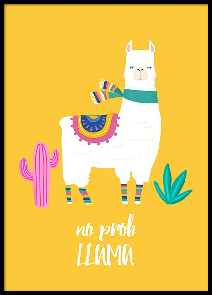 No Prob Llama Poster in the group Prints / Kids posters at Desenio AB (11448)