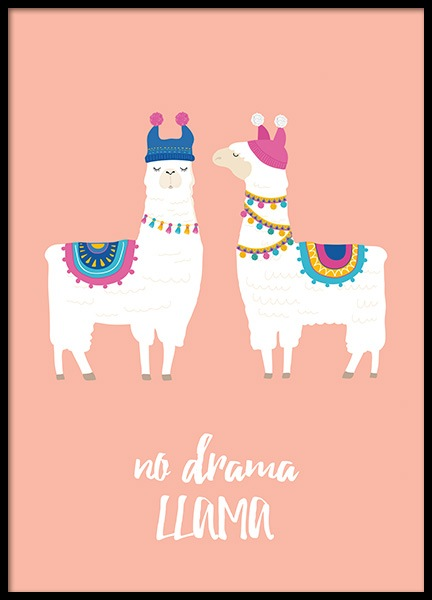 No Drama Llama Poster in the group Prints / Kids at Desenio AB (11449)