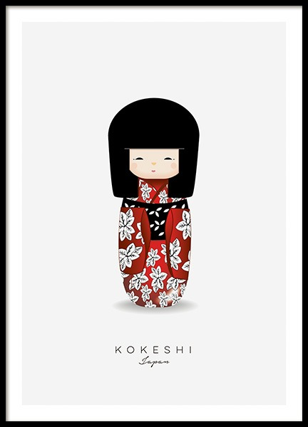 Kokeshi Doll Red Poster in the group Prints / Kids posters at Desenio AB (11454)